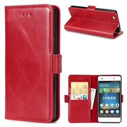 Luxury Crazy Horse PU Leather Wallet Case for Huawei P8 Lite P8lite - Red