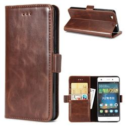 Luxury Crazy Horse PU Leather Wallet Case for Huawei P8 Lite P8lite - Coffee