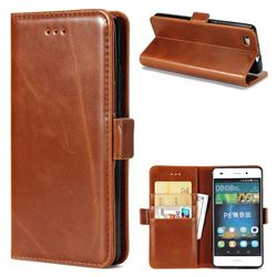 Luxury Crazy Horse PU Leather Wallet Case for Huawei P8 Lite P8lite - Brown