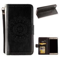 Embossed Datura Flower PU Leather Wallet Case for Huawei P8 Lite P8lite - Black