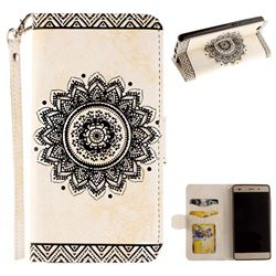 Embossed Datura Flower PU Leather Wallet Case for Huawei P8 Lite P8lite - White