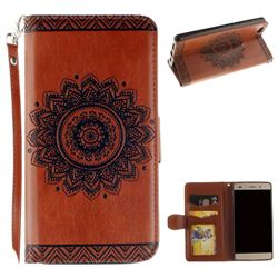 Embossed Datura Flower PU Leather Wallet Case for Huawei P8 Lite P8lite - Brown