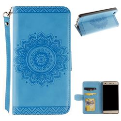 Embossed Datura Flower PU Leather Wallet Case for Huawei P8 Lite P8lite - Blue