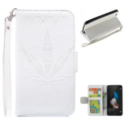Intricate Embossing Maple Leather Wallet Case for Huawei P8 Lite P8lite - White