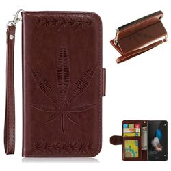 Intricate Embossing Maple Leather Wallet Case for Huawei P8 Lite P8lite - Brown
