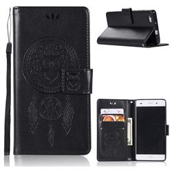 Intricate Embossing Owl Campanula Leather Wallet Case for Huawei P8 Lite P8lite - Black