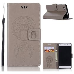 Intricate Embossing Owl Campanula Leather Wallet Case for Huawei P8 Lite P8lite - Grey