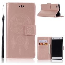 Intricate Embossing Owl Campanula Leather Wallet Case for Huawei P8 Lite P8lite - Rose Gold