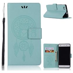 Intricate Embossing Owl Campanula Leather Wallet Case for Huawei P8 Lite P8lite - Green