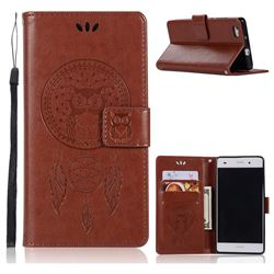Intricate Embossing Owl Campanula Leather Wallet Case for Huawei P8 Lite P8lite - Brown