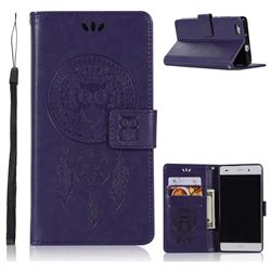 Intricate Embossing Owl Campanula Leather Wallet Case for Huawei P8 Lite P8lite - Purple