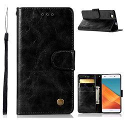 Luxury Retro Leather Wallet Case for Huawei P8 Lite P8lite - Black