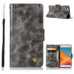 Luxury Retro Leather Wallet Case for Huawei P8 Lite P8lite - Gray