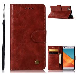 Luxury Retro Leather Wallet Case for Huawei P8 Lite P8lite - Wine Red