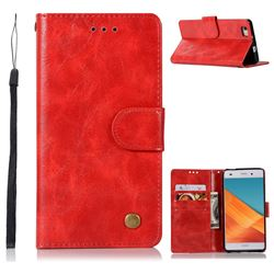 Luxury Retro Leather Wallet Case for Huawei P8 Lite P8lite - Red