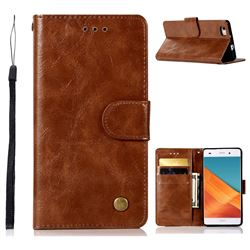 Luxury Retro Leather Wallet Case for Huawei P8 Lite P8lite - Brown