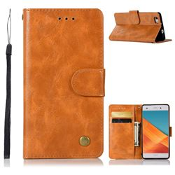 Luxury Retro Leather Wallet Case for Huawei P8 Lite P8lite - Golden