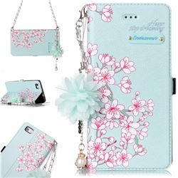 Cherry Blossoms Endeavour Florid Pearl Flower Pendant Metal Strap PU Leather Wallet Case for Huawei P8 Lite P8lite