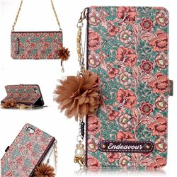 Impatiens Endeavour Florid Pearl Flower Pendant Metal Strap PU Leather Wallet Case for Huawei P8 Lite P8lite