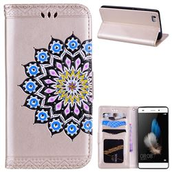 Datura Flowers Flash Powder Leather Wallet Holster Case for Huawei P8 Lite P8lite - Golden