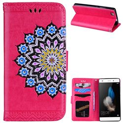 Datura Flowers Flash Powder Leather Wallet Holster Case for Huawei P8 Lite P8lite - Rose