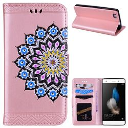 Datura Flowers Flash Powder Leather Wallet Holster Case for Huawei P8 Lite P8lite - Pink