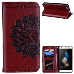 Datura Flowers Flash Powder Leather Wallet Holster Case for Huawei P8 Lite P8lite - Brown