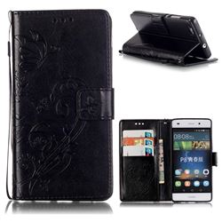 Embossing Butterfly Flower Leather Wallet Case for Huawei P8 Lite P8lite - Black