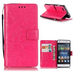 Embossing Butterfly Flower Leather Wallet Case for Huawei P8 Lite P8lite - Rose