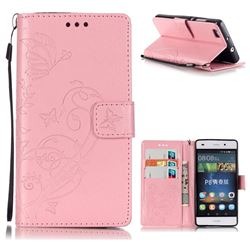 Embossing Butterfly Flower Leather Wallet Case for Huawei P8 Lite P8lite - Pink