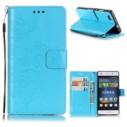 Embossing Butterfly Flower Leather Wallet Case for Huawei P8 Lite P8lite - Blue