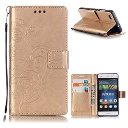 Embossing Butterfly Flower Leather Wallet Case for Huawei P8 Lite P8lite - Champagne