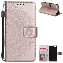 Intricate Embossing Datura Leather Wallet Case for Huawei P8 Lite P8lite - Rose Gold