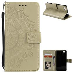 Intricate Embossing Datura Leather Wallet Case for Huawei P8 Lite P8lite - Golden