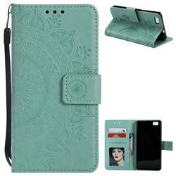 Intricate Embossing Datura Leather Wallet Case for Huawei P8 Lite P8lite - Mint Green