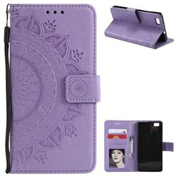 Intricate Embossing Datura Leather Wallet Case for Huawei P8 Lite P8lite - Purple
