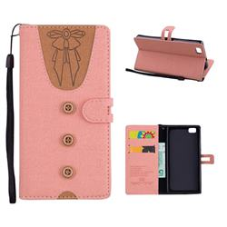 Ladies Bow Clothes Pattern Leather Wallet Phone Case for Huawei P8 Lite P8lite - Pink