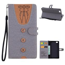 Ladies Bow Clothes Pattern Leather Wallet Phone Case for Huawei P8 Lite P8lite - Gray