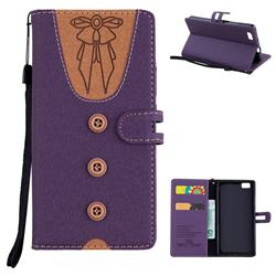 Ladies Bow Clothes Pattern Leather Wallet Phone Case for Huawei P8 Lite P8lite - Purple