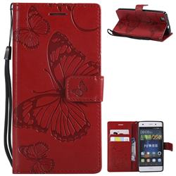 Embossing 3D Butterfly Leather Wallet Case for Huawei P8 Lite P8lite - Red