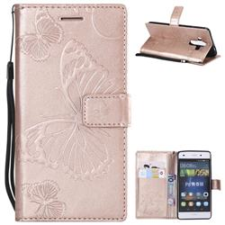 Embossing 3D Butterfly Leather Wallet Case for Huawei P8 Lite P8lite - Rose Gold