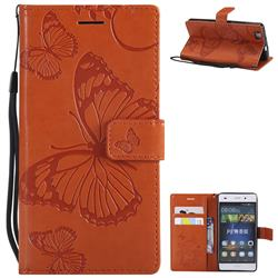 Embossing 3D Butterfly Leather Wallet Case for Huawei P8 Lite P8lite - Orange