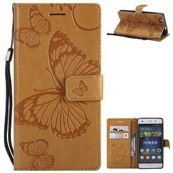 Embossing 3D Butterfly Leather Wallet Case for Huawei P8 Lite P8lite - Yellow