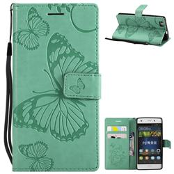 Embossing 3D Butterfly Leather Wallet Case for Huawei P8 Lite P8lite - Green