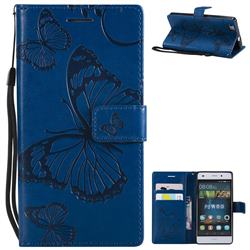 Embossing 3D Butterfly Leather Wallet Case for Huawei P8 Lite P8lite - Blue