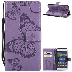 Embossing 3D Butterfly Leather Wallet Case for Huawei P8 Lite P8lite - Purple