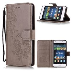 Intricate Embossing Dandelion Butterfly Leather Wallet Case for Huawei P8 Lite P8lite - Gray