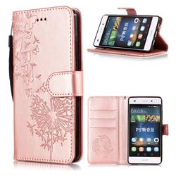 Intricate Embossing Dandelion Butterfly Leather Wallet Case for Huawei P8 Lite P8lite - Rose Gold