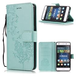Intricate Embossing Dandelion Butterfly Leather Wallet Case for Huawei P8 Lite P8lite - Green