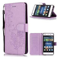 Intricate Embossing Dandelion Butterfly Leather Wallet Case for Huawei P8 Lite P8lite - Purple